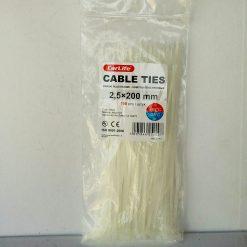 Хомут пластиковый 200х2,5мм CarLife 100шт. Nylon 6.6 (Нейлон) Made in P.R.C