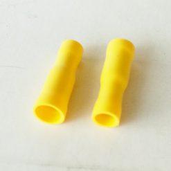 """Клемма """"мама"""" в изоляции круглая 6мм толщина 0.8мм под провод 4-6кв.мм желтого цвета"""