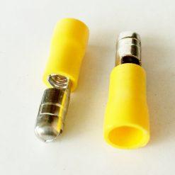 """Клемма """"папа"""" в изоляции круглый 6мм толщина 0.8мм под провод 4-6кв.мм желтого цвета"""