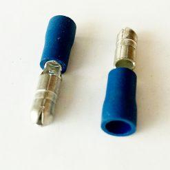 """Клемма """"папа"""" в изоляции круглый 4мм толщина 0.8мм под провод 1,5-2,5кв.мм синего цвета"""
