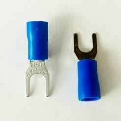 "Клемма ""вилка"" в изоляции 4мм толщина 0.8мм под провод 1,5-2,5кв.мм синего цвета SV2-4"