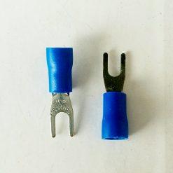 "Клемма ""вилка"" в изоляции 3мм толщина 0.8мм под провод 1,5-2,5кв.мм синего цвета SV2-3"