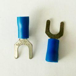 "Клемма ""вилка"" в изоляции 5мм толщина 0.8мм под провод 1,5-2,5кв.мм синего цвета SV2-5"