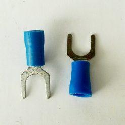 "Клемма ""вилка"" в изоляции 6мм толщина 0.8мм под провод 1,5-2,5кв.мм синего цвета SV2-6"
