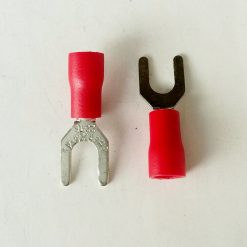 """Клемма """"вилка"""" в изоляции 4мм толщина 0.8мм под провод 0,5-1,5кв.мм красного цвета SV1.25-4"""