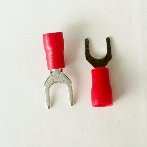 """Клемма """"вилка"""" в изоляции 5мм толщина 0.8мм под провод 0,5-1,5кв.мм красного цвета SV1.25-5"""