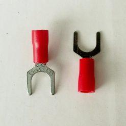 """Клемма """"вилка"""" в изоляции 6мм толщина 0.8мм под провод 0,5-1,5кв.мм красного цвета SV1.25-6"""