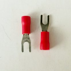 """Клемма """"вилка"""" в изоляции 3мм толщина 0.8мм под провод 0,5-1,5кв.мм красного цвета SV1.25-3"""
