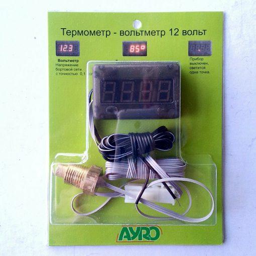 Термометр-вольтметр для измерения температуры двигателя цифровой 12v