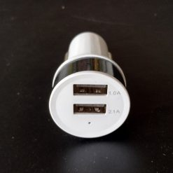 Автомобильный адаптер 2 порта USB, 5V(2,1А+1A) белый с черным ободом и синей подсветкой портов