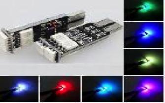 светодиод T10 6smd 5050 RGB с функцией стробоскопа 12v - 7цветов