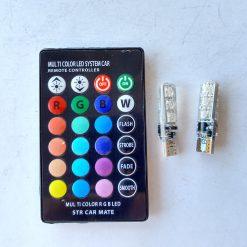 светодиод T10 6smd 2835 RGB с функцией стробоскопа 12v + контроллер 120Lm