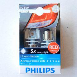 Philips 12898RX2 X-treme Vision LED-RED [~P21W], 12-24В насыщенный красный