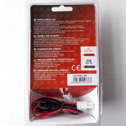 Авто зарядка - кнопка DAF c 2 USB 3A 12-24V