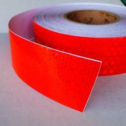 Светоотражающая лента перфорированная красная ширина 50мм