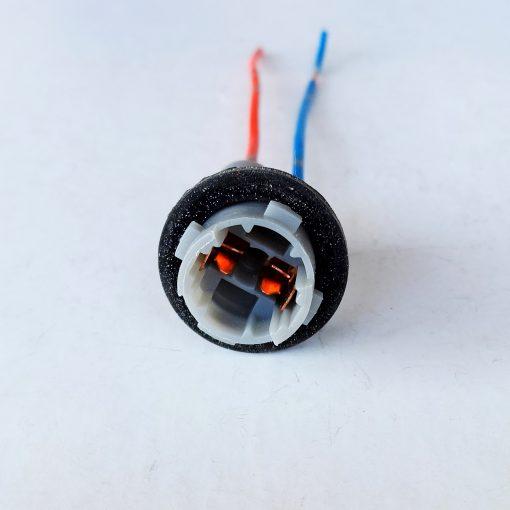 Патрон T10 пластик с 4-мя зацепами (медь) под лампу W5W с проводом