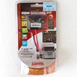 Авто зарядка - кнопка MAN c 2 USB 3A 12-24V