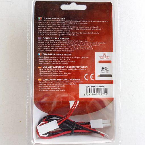 Авто зарядка - кнопка IVECO c 2 USB 3A 12-24V