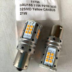 светодиод T25 32smd 3030 Yellow CANBUS 12v BAU15s оранжевая, драйвер обманка