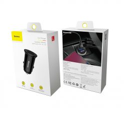 Авто зарядка BASEUS Circular Plastic QC3.0 30W 2USB Black