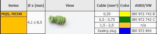 Уплотнитель резиновый под pin MQS, MCON