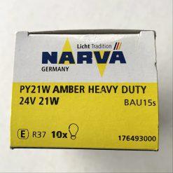 Narva 17649 PY21W 24v BAU15s AMBER Heavy Duty (вибростойкая)